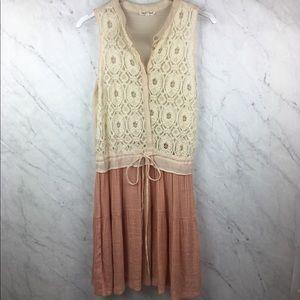 Anthropologie Hem & Thread Cream & Pink Dress